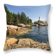 Point Atkinson Lighthouse In Vancouver Bc Throw Pillow
