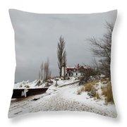 Point Betsie In Winter Throw Pillow