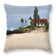 Point Betsie Lighthouse Classic View Throw Pillow