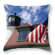 Point Betsie Lighthouse With Flag Throw Pillow