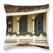 Point Fermin Lighthouse Christmas Porch Throw Pillow