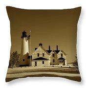 Point Iroquois Light Station Throw Pillow