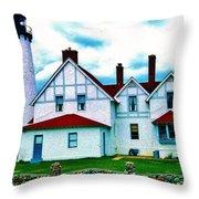 Point Iroquois Lighthouse Throw Pillow