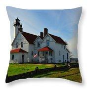 Point Iroquois Lighthouse On Whitefish Bay Michigan Throw Pillow