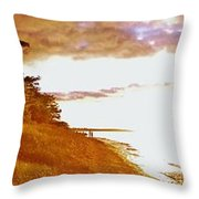 Point Iroquois Pano Sunset Throw Pillow