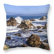 Point Lobos Rocks And Waves Throw Pillow