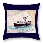 Point Loma Trawl Fishing Boat Nautical Chart Map Art Throw Pillow