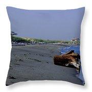 Point Wilson Lighthouse And Beach Throw Pillow