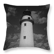 Pointe Aux Barques Lighthouse Black And White Throw Pillow