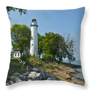 Pointe Aux Barques Lighthouse Throw Pillow