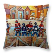 Pointe St. Charles Hockey Rinks Near Row Houses Montreal Winter City Scenes Throw Pillow