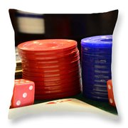 Poker Chips Throw Pillow by Paul Ward