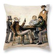 Poker Game, 1840s Throw Pillow