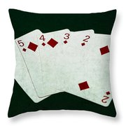 Poker Hands - Straight Flush 4 Throw Pillow
