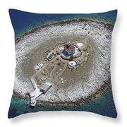 Pokonji Dol Lighthouse From Air Throw Pillow