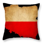 Poland Grunge Map Outline With Flag Throw Pillow