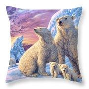 Polar Bear Family Throw Pillow