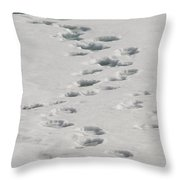 Polar Bear Footprints Throw Pillow
