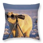 Polar Bear Investigating Photographers Throw Pillow