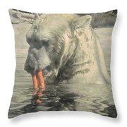 Polar Bear Snacking Throw Pillow