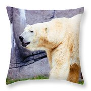 Polar Bear Walking Throw Pillow