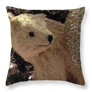 Polar Bear With Ornaments Throw Pillow