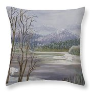 Polar Bears Crossing Throw Pillow