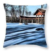 Pole Barns In The Winter Throw Pillow