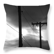 Poles And Sunsets In Black And White Throw Pillow