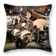 Police Bikes In New York Throw Pillow