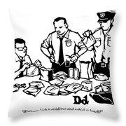 Police Detectives Search Through A Table Throw Pillow