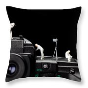 Police Investigate On A Camera Throw Pillow