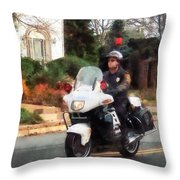 Police - Motorcycle Cop On Patrol Throw Pillow