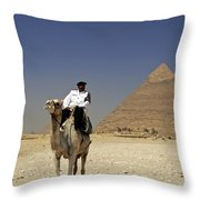 Police Officer On A Camel In Front Of Pyramid In Cairo Egypt Throw Pillow