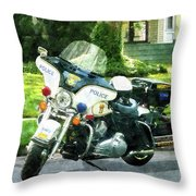 Police - Police Motorcycle Throw Pillow