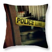 Police Tape Blocking Bloody Stairs Throw Pillow