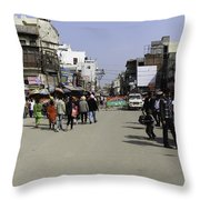 Police Vehicle And Barricades In Front Of Golden Temple In Amritsar Throw Pillow