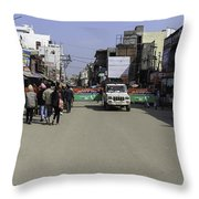 Police Vehicle Emerging Through Barricades In Front Of Golden Temple Throw Pillow