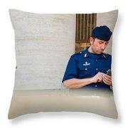 Policeman At St. Peter's Basilica Throw Pillow