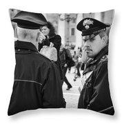 Policemen In Rome Throw Pillow