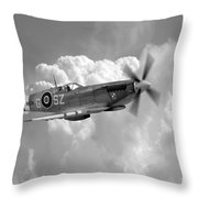 Polish Spitfire Ace Bw Throw Pillow