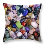 Polished Gemstones Throw Pillow