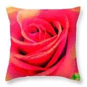 Polka Dot Beautiful Rose Throw Pillow
