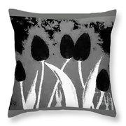 Polka Dot Black Tulips Throw Pillow