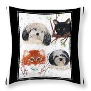 Polka Dot Family Pets With Borders - Whimsical Art Throw Pillow