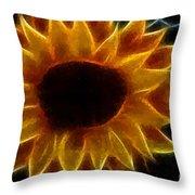 Polka Dot Glowing Sunflower Throw Pillow