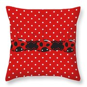 Polka Dot Lady Bugs Graphics By Kika Esteves  With Custom Coordinated Design Crafted By D Miller.  Throw Pillow
