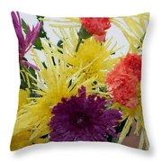 Polka Dot Mums And Carnations Throw Pillow