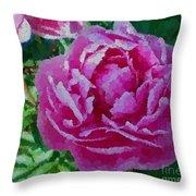 Polka Dot Pink Peony Throw Pillow