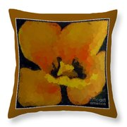 Polka Dot Yellow Blooming Tulip Throw Pillow